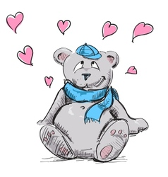 In love cute teddy bear vector