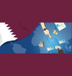 Qatar economy fiscal money trade concept vector
