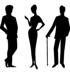 Men and lady silhouette vector
