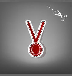 Medal simple sign  red icon with for vector