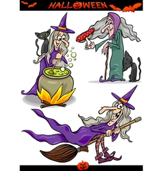 Halloween cartoon spooky themes set vector