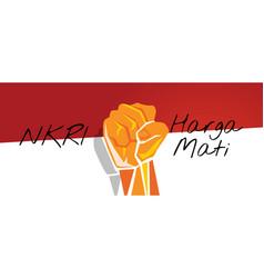 Nkri harga mati hand fist arm indonesia flag red vector