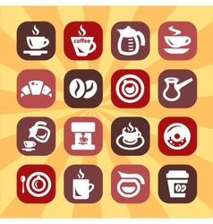 Color coffee icons vector