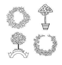 Set of floristic ornaments vector