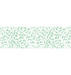 Leaves and swirls textile horizontal border vector