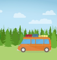 Travel car on hill vector