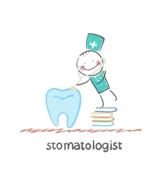 stomatologist standing on a pile of books and a vector image
