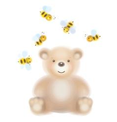 bear bees vector image
