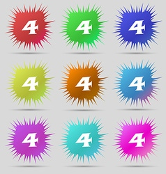 Number four icon sign nine original needle buttons vector