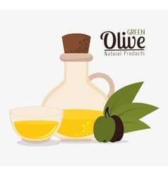 Green olive oil graphic vector