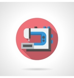 Industrial sewing machine round flat icon vector