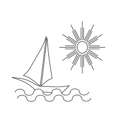 Ship at sea icon outline style vector
