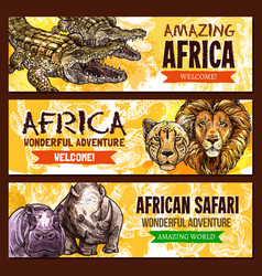 african animals poster for safari adventure vector image vector image