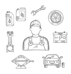 Auto mechanic profession sketch symbol vector image