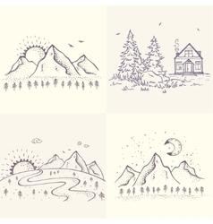 Beautiful nature set vector