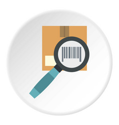 Box and magnifying glass icon circle vector