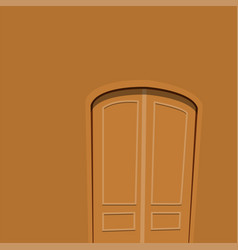 Brown door front to house and building flat design vector