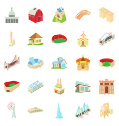 Building house icons set cartoon style vector