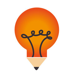 bulb light with pencil vector image