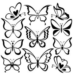 Butterflies black contours vector