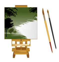 canvas with brushes vector image
