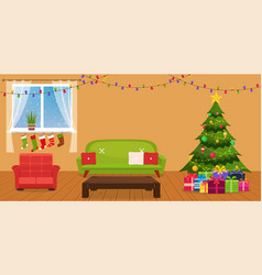 Christmas room interior vector
