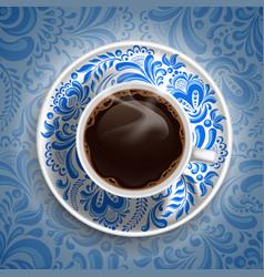 Coffee gzhel vector image vector image