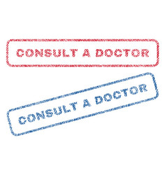 Consult a doctor textile stamps vector
