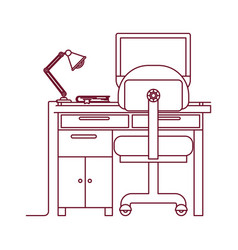 Dark red line contour of desk home with chair and vector