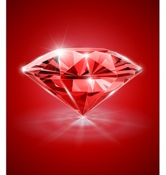 diamond on red background vector image vector image