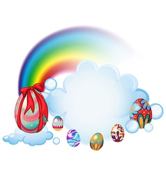Easter eggs above the clouds vector image vector image