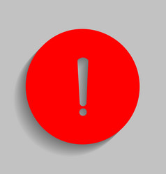 Exclamation mark sign red icon with soft vector