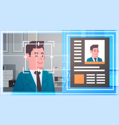 Face recognition technology scanning business man vector