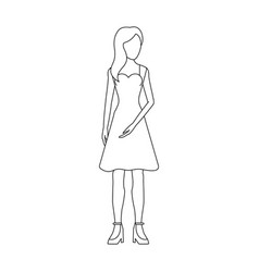 Faceless woman with long hair icon image vector