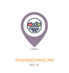 Fruit basket mapping pin icon harvest vector