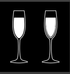 Glass of champagne white color icon vector