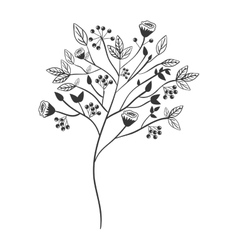 Gray scale with floral branch vector