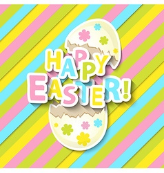 Happy Easter Greeting Card with Cartoon Egg vector image