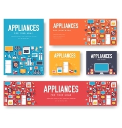 Home appliances cards set electronics template of vector