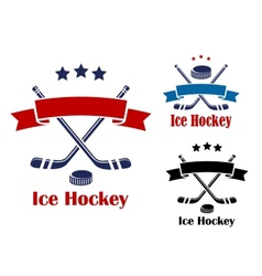 Ice hockey emblems or banners vector image vector image
