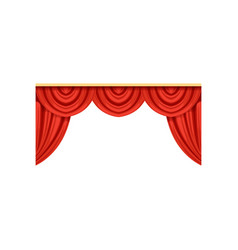 icon of red silk or velvet curtains and pelmets vector image vector image
