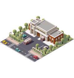 Isometric fire station vector