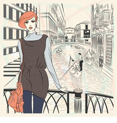 Lovely fashion girl on a venice background vector