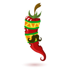 Mexican chili pepper pepper vector