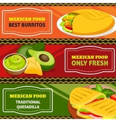 Mexican food horizontal banners set vector