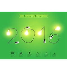 Numbers of New Year 2016 with creative light bulb vector image vector image