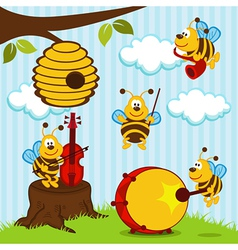 Orchestra musical bees vector