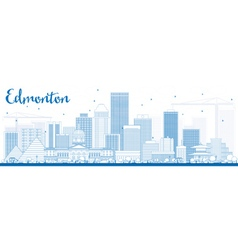 Outline edmonton skyline with blue buildings vector