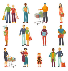 people shopping shopper buy with bag or vector image vector image