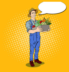 pop art farmer holding basket with vegetables vector image vector image
